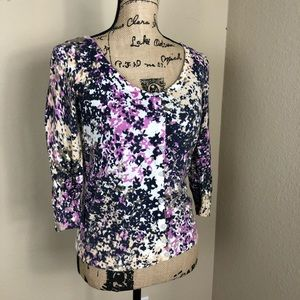 Banana Republic Purple Floral Cotton Cardigan M P